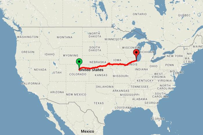todays journey would bring me through 4 states colorado nebraska iowa and illinois i slept through most of the journey as the train traveled through